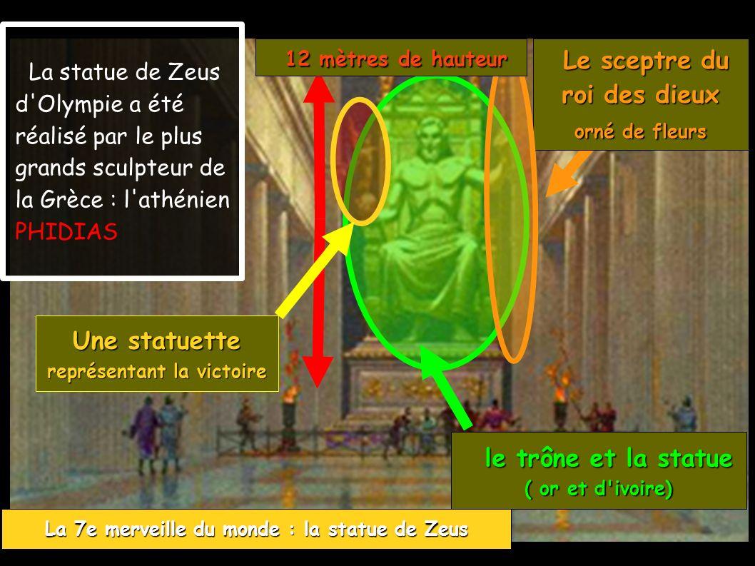 La 7e merveille du monde : la statue de Zeus La statue de Zeus d'Olympie a été réalisé par le plus grands sculpteur de la Grèce : l'athénien PHIDIAS U