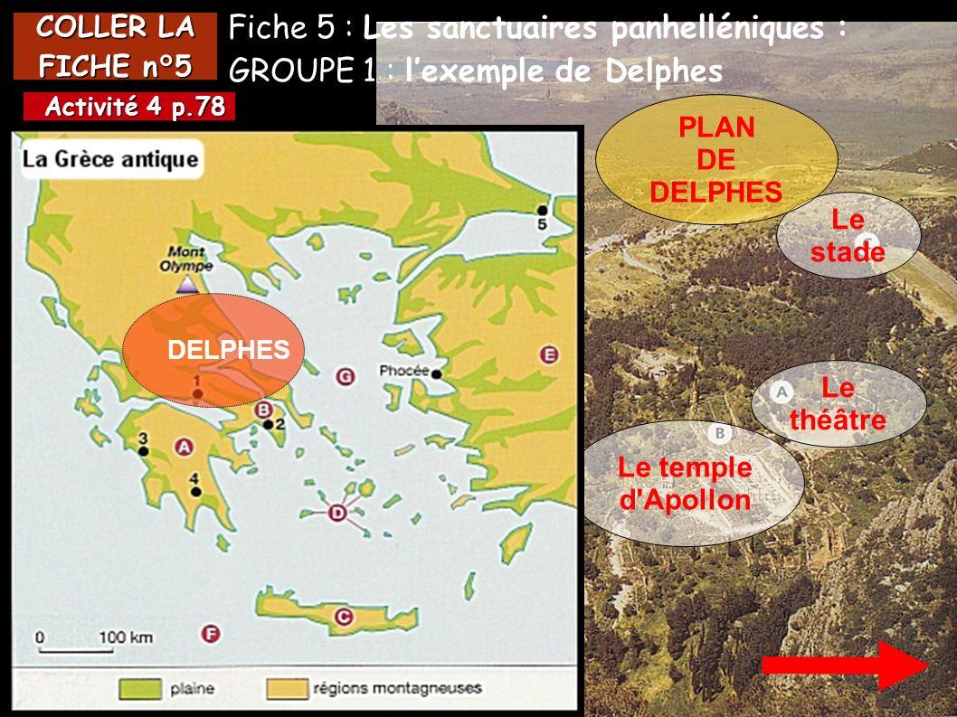 COLLER LA FICHE n°5 Le théâtre Le temple d'Apollon Fiche 5 : Les sanctuaires panhelléniques : GROUPE 1 : lexemple de Delphes DELPHES Activité 4 p.78 A