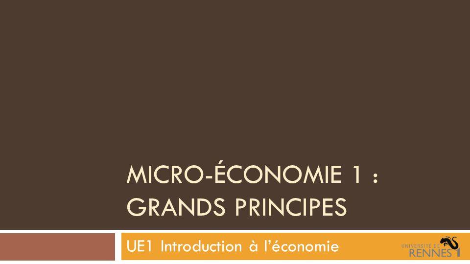 MICRO-ÉCONOMIE 1 : GRANDS PRINCIPES UE1 Introduction à léconomie