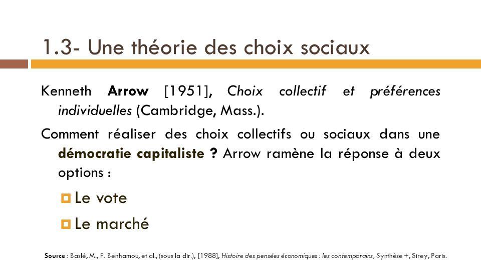 1.2- Différents systèmes de « choix social » Dans sa typologie des différents modes de choix social, Frank H.