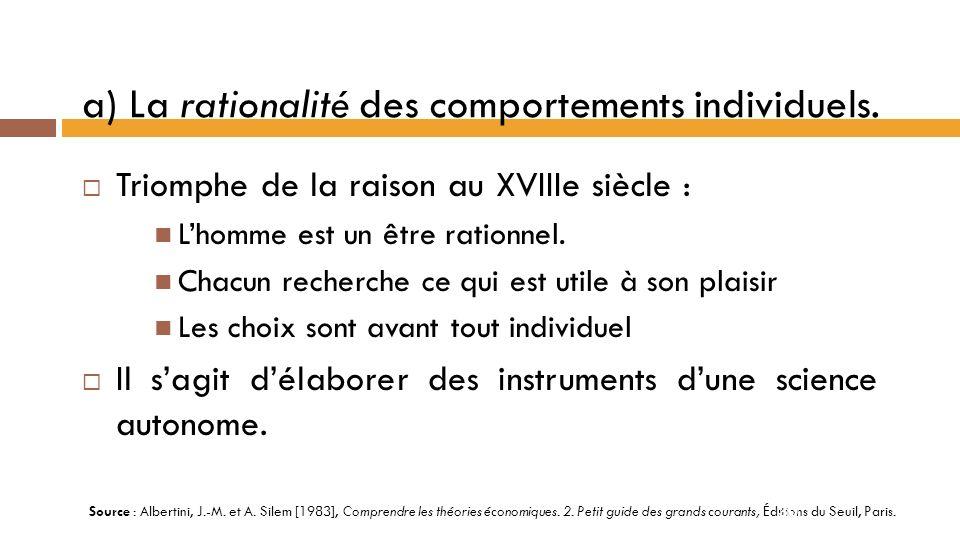 2-2 Lhéritage commun Les trois principes fondateurs du libéralisme: La rationalité des comportements individuels.