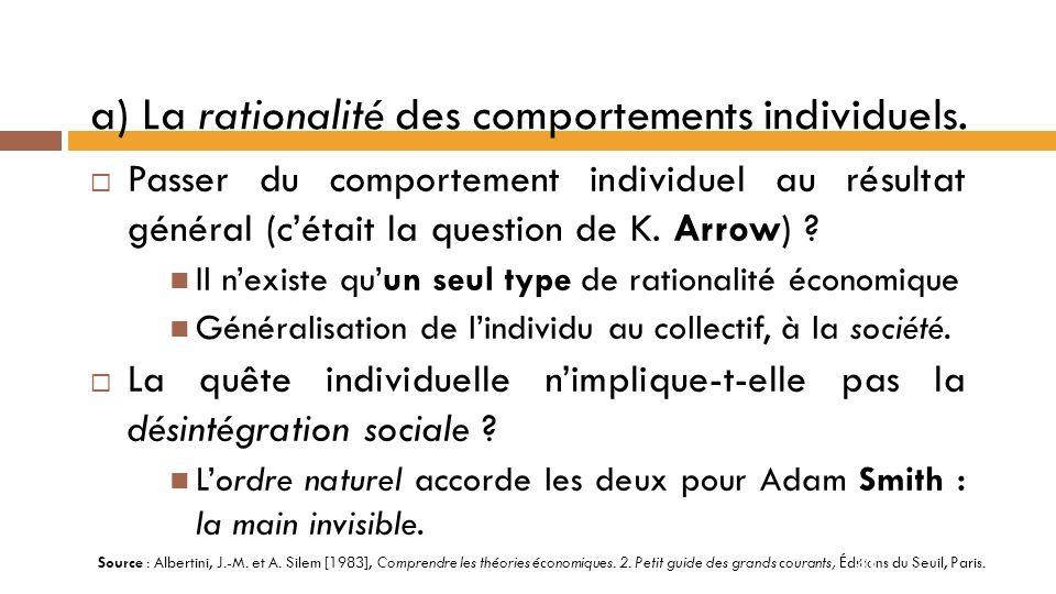 a) La rationalité des comportements individuels.