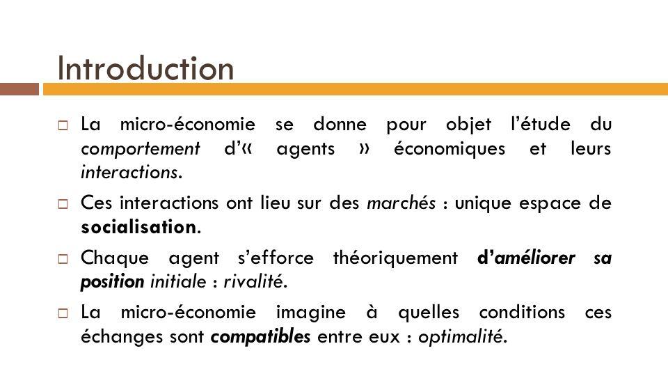 Introduction La micro-économie se donne pour objet létude du comportement d« agents » économiques et leurs interactions.