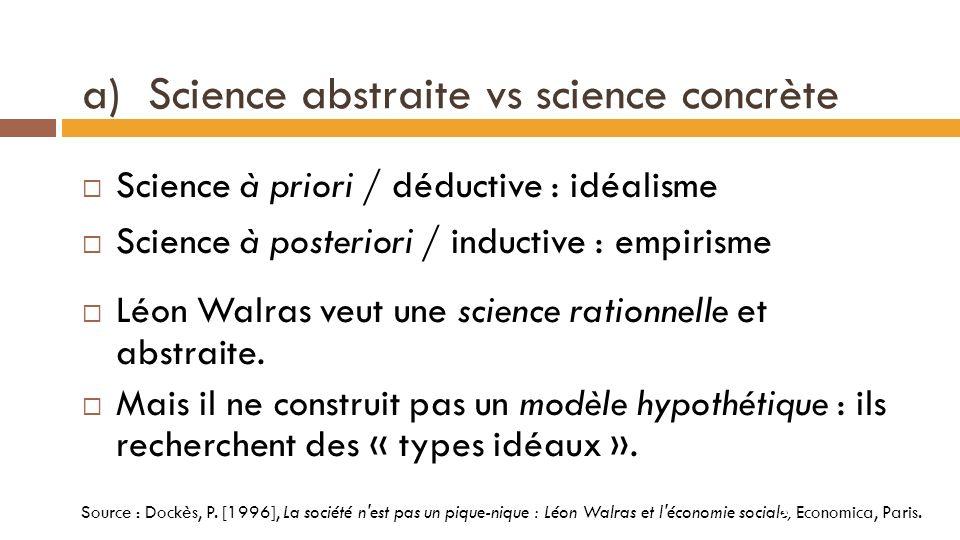 3-2 Conception de la science chez Walras Les trois oppositions posées par Léon Walras Source : Dockès, P.