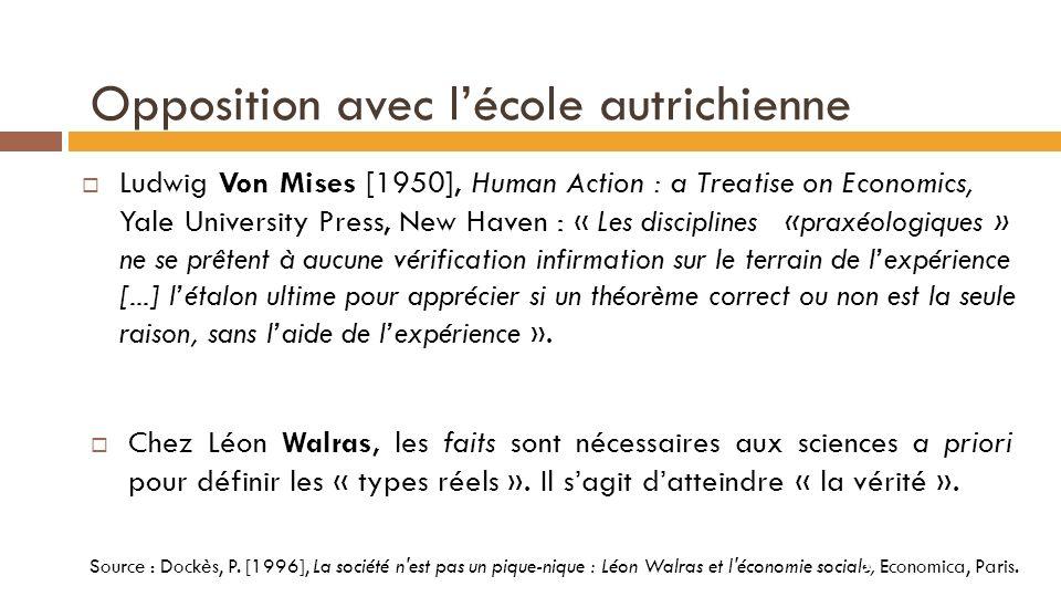 Opposition avec les classiques James Mill [1829] : « Les conclusions de léconomie politique, comme celle de la géométrie, ne sont vraies que dans labstrait, cest-à-dire quelles ne sont vraies que sous certaines conditions».