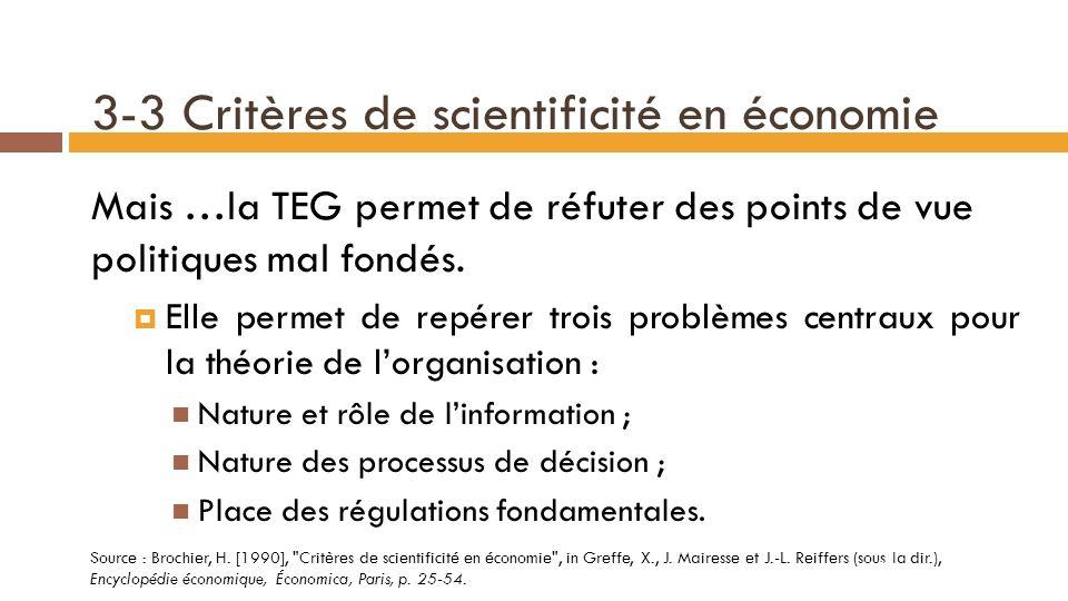 3-3 Critères de scientificité en économie Rationalisme et formalisme (suite) : Léquilibre nest jamais assuré sur tous les marchés.