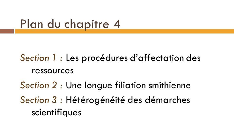 Plan du chapitre 4 Section 1 : Les procédures daffectation des ressources Section 2 : Une longue filiation smithienne Section 3 : Hétérogénéité des démarches scientifiques 9