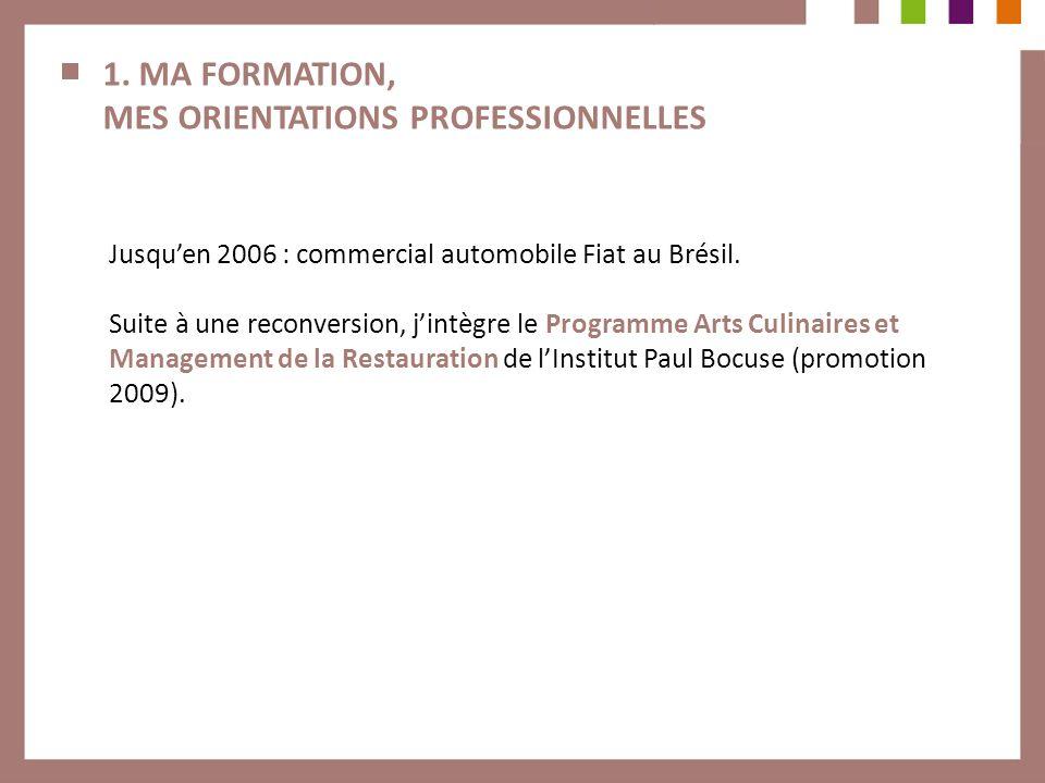 1. MA FORMATION, MES ORIENTATIONS PROFESSIONNELLES Jusquen 2006 : commercial automobile Fiat au Brésil. Suite à une reconversion, jintègre le Programm