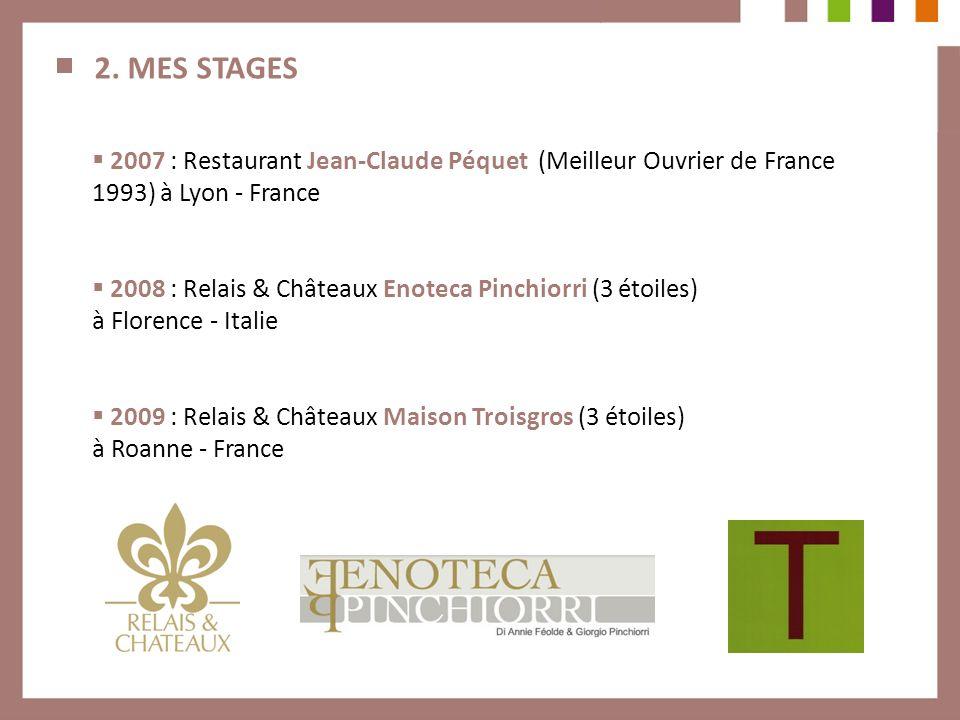 2. MES STAGES 2007 : Restaurant Jean-Claude Péquet (Meilleur Ouvrier de France 1993) à Lyon - France 2008 : Relais & Châteaux Enoteca Pinchiorri (3 ét
