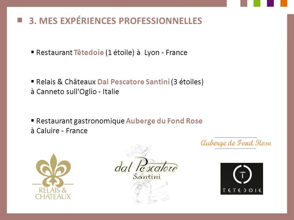 3. MES EXPÉRIENCES PROFESSIONNELLES Restaurant Têtedoie (1 étoile) à Lyon - France Relais & Châteaux Dal Pescatore Santini (3 étoiles) à Canneto sull'