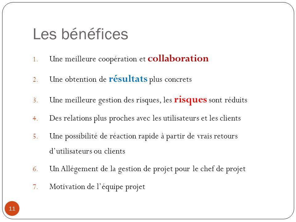 Les bénéfices 1.Une meilleure coopération et collaboration 2.