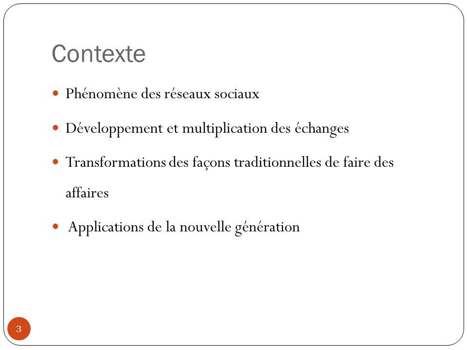 Contexte Phénomène des réseaux sociaux Développement et multiplication des échanges Transformations des façons traditionnelles de faire des affaires Applications de la nouvelle génération 3