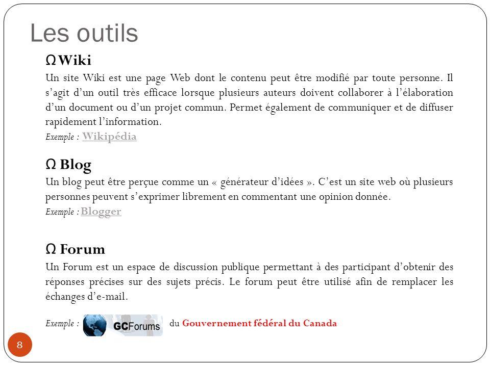 Les outils Wiki Un site Wiki est une page Web dont le contenu peut être modifié par toute personne.