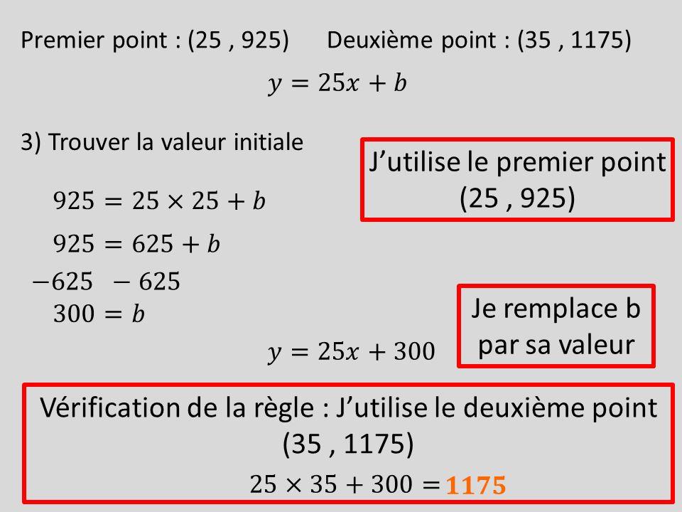 Premier point : (25, 925)Deuxième point : (35, 1175) 3) Trouver la valeur initiale Jutilise le premier point (25, 925) Vérification de la règle : Juti