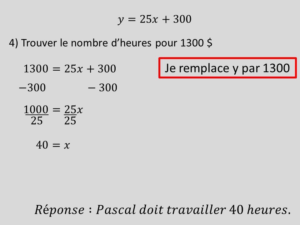 4) Trouver le nombre dheures pour 1300 $ Je remplace y par 1300