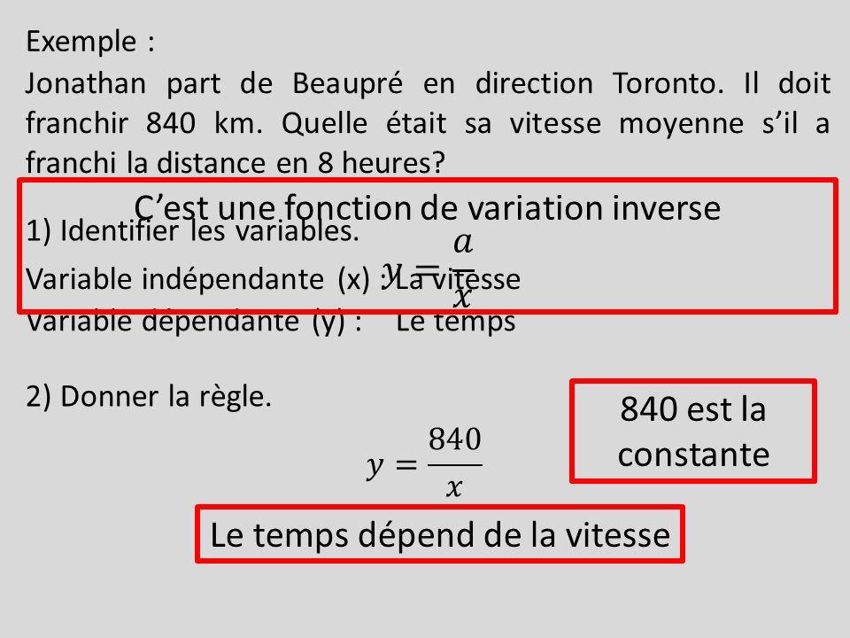 Exemple : Jonathan part de Beaupré en direction Toronto. Il doit franchir 840 km. Quelle était sa vitesse moyenne sil a franchi la distance en 8 heure