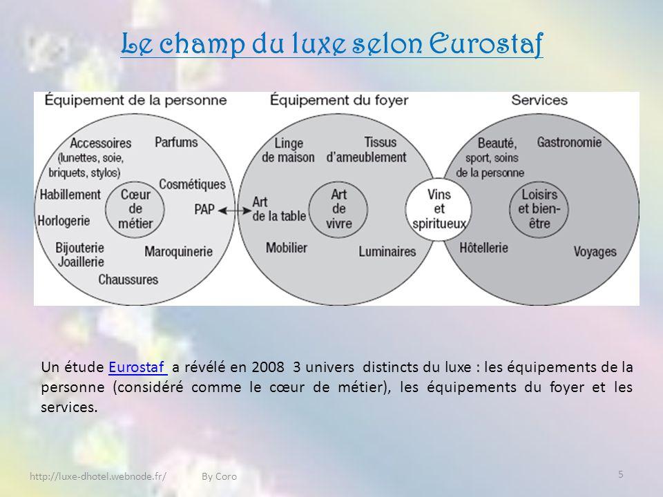 Le champ du luxe selon Eurostaf http://luxe-dhotel.webnode.fr/ By Coro Un étude Eurostaf a révélé en 2008 3 univers distincts du luxe : les équipements de la personne (considéré comme le cœur de métier), les équipements du foyer et les services.Eurostaf 5