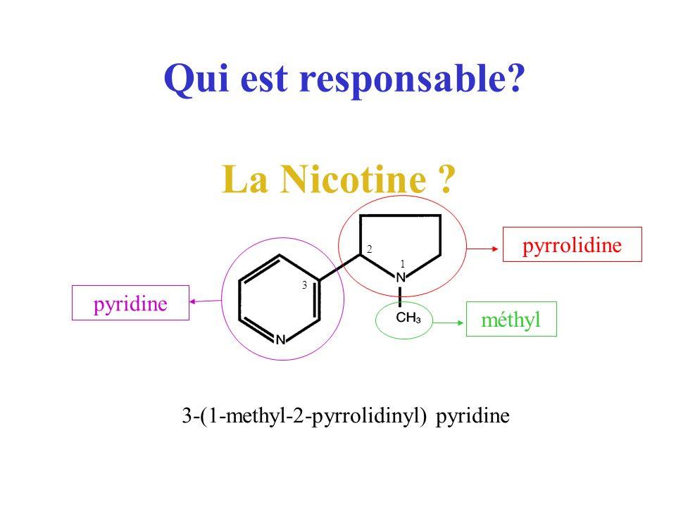 Qui est responsable? La Nicotine ? 3-(1-methyl-2-pyrrolidinyl) pyridine pyrrolidine méthyl 1 pyridine 3 2
