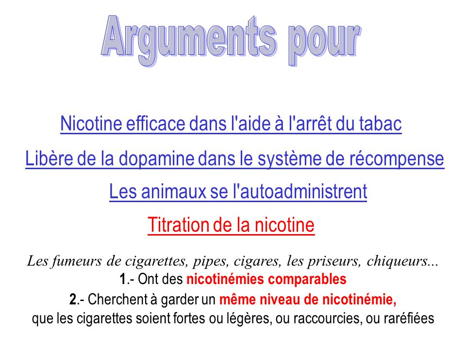 2.- Cherchent à garder un même niveau de nicotinémie, que les cigarettes soient fortes ou légères, ou raccourcies, ou raréfiées Nicotine efficace dans