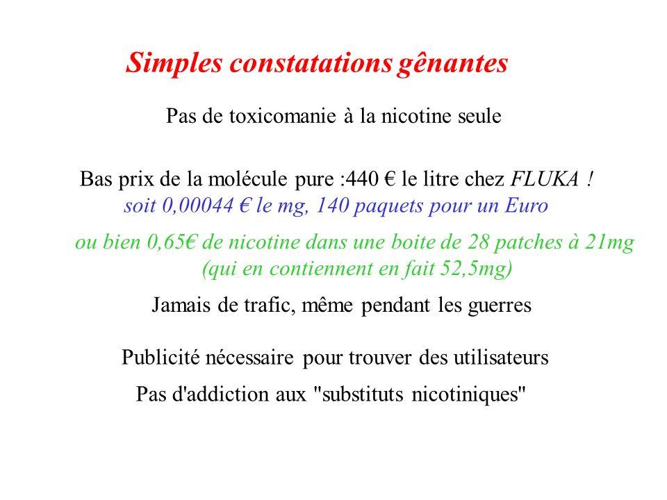 Pas de toxicomanie à la nicotine seule Publicité nécessaire pour trouver des utilisateurs Bas prix de la molécule pure :440 le litre chez FLUKA ! soit
