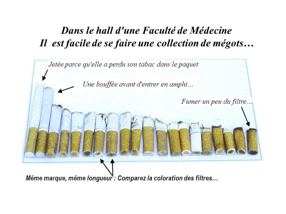 Dans le hall d'une Faculté de Médecine Il est facile de se faire une collection de mégots… Fumer un peu du filtre… Même marque, même longueur : Compar
