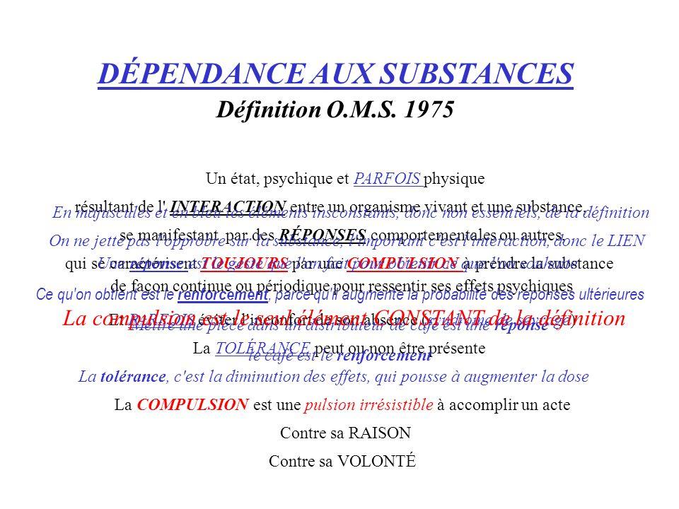 DÉPENDANCE AUX SUBSTANCES Définition O.M.S. 1975 La TOLÉRANCE peut ou non être présente Contre sa VOLONTÉ Un état, psychique et PARFOIS physique résul