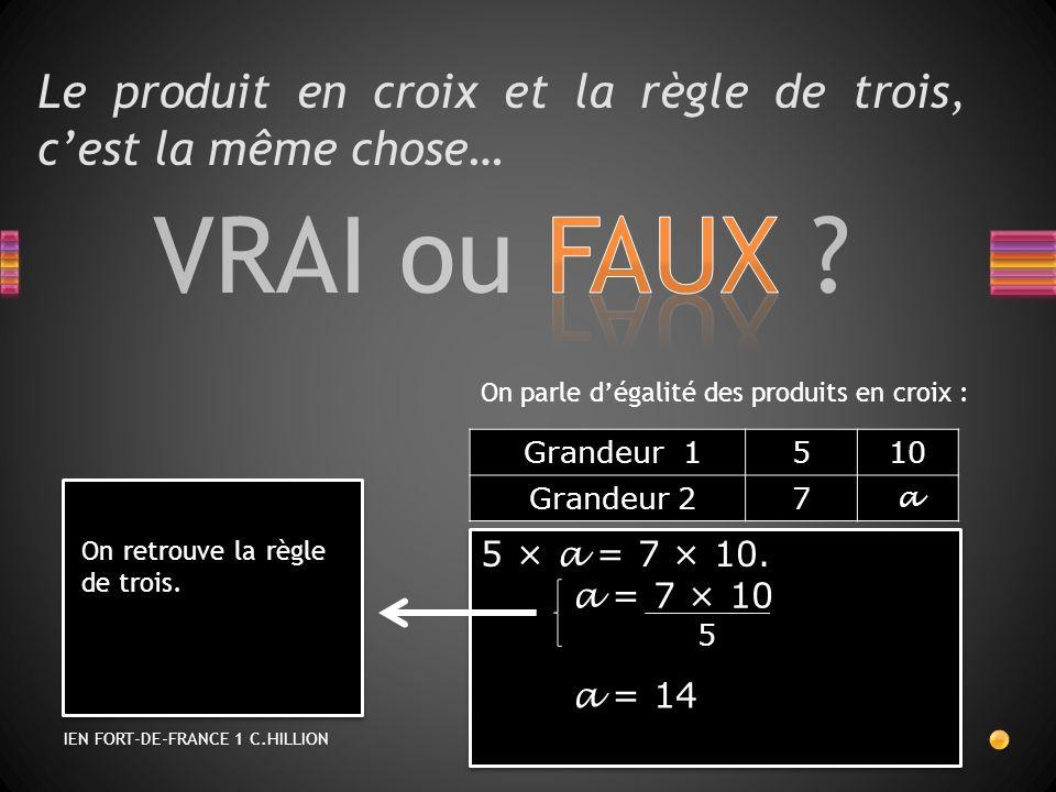 VRAI ou FAUX ? Le produit en croix et la règle de trois, cest la même chose… On parle dégalité des produits en croix : 5 × a = 7 × 10. a = 7 × 10 a =