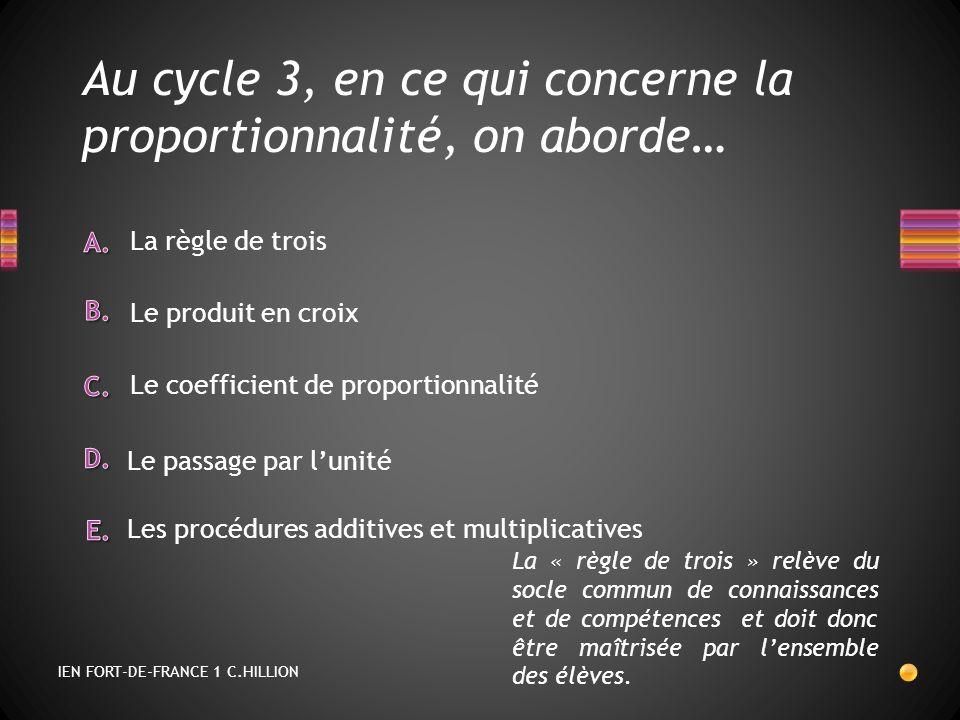 Au cycle 3, en ce qui concerne la proportionnalité, on aborde… Le coefficient de proportionnalité Le produit en croix La règle de trois Le passage par