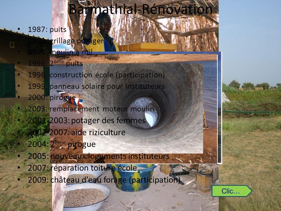 Barmathial-Rénovation 1987: puits 1989: grillage potager 1995: moulin à mil 1996: 2 ème puits 1996: construction école (participation) 1999: panneau s