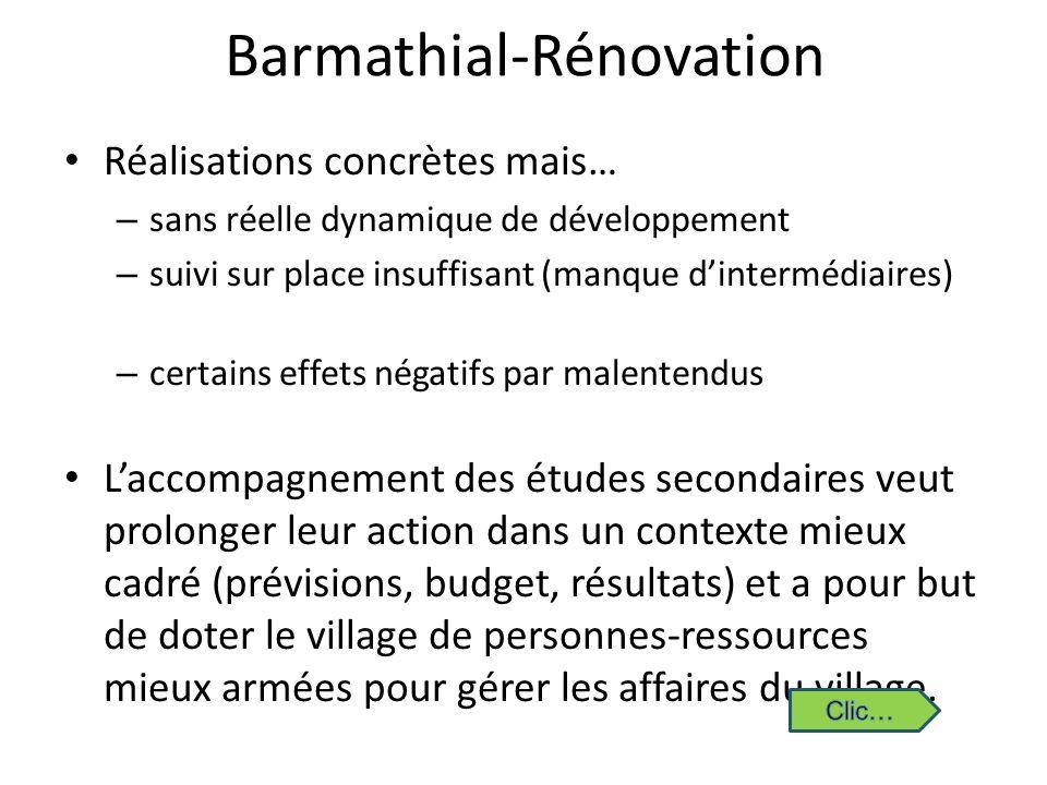 Barmathial-Rénovation Réalisations concrètes mais… – sans réelle dynamique de développement – suivi sur place insuffisant (manque dintermédiaires) – c
