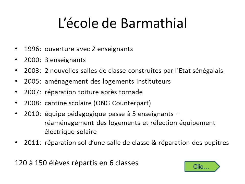 Lécole de Barmathial 1996: ouverture avec 2 enseignants 2000: 3 enseignants 2003: 2 nouvelles salles de classe construites par lEtat sénégalais 2005:
