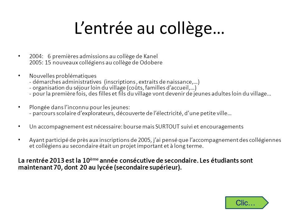 Lentrée au collège… 2004: 6 premières admissions au collège de Kanel 2005: 15 nouveaux collégiens au collège de Odobere Nouvelles problématiques - dém