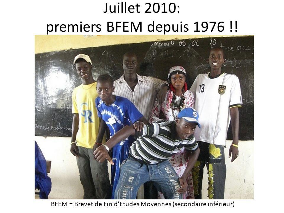 Juillet 2010: premiers BFEM depuis 1976 !! BFEM = Brevet de Fin dEtudes Moyennes (secondaire inférieur)