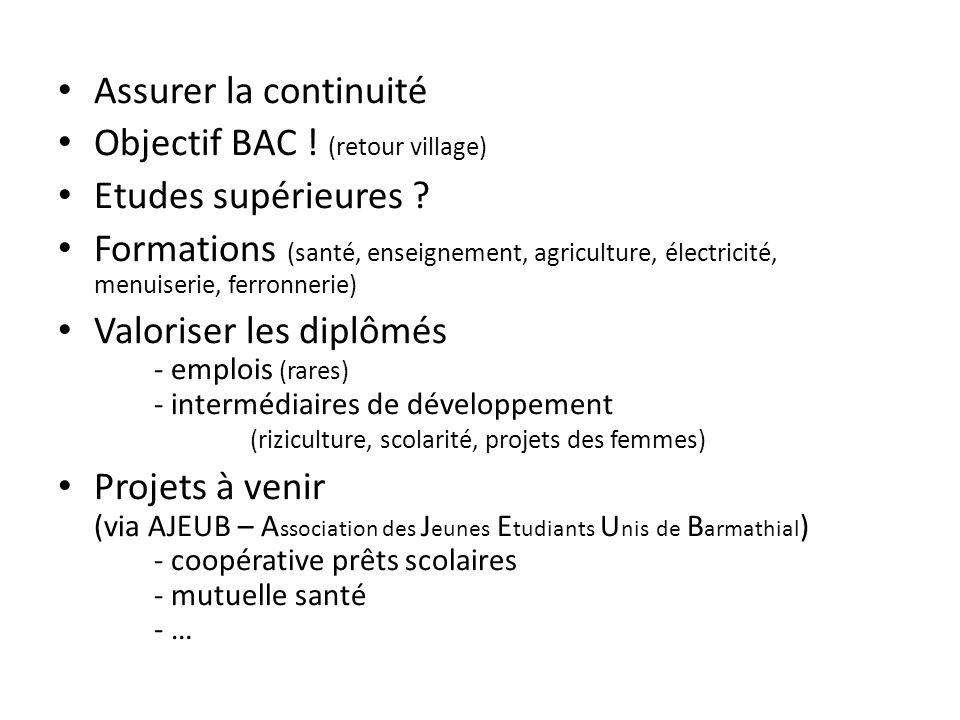 Assurer la continuité Objectif BAC ! (retour village) Etudes supérieures ? Formations (santé, enseignement, agriculture, électricité, menuiserie, ferr