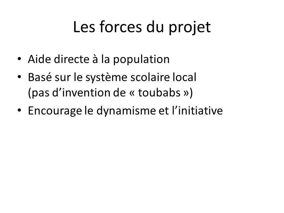 Les forces du projet Aide directe à la population Basé sur le système scolaire local (pas dinvention de « toubabs ») Encourage le dynamisme et linitia