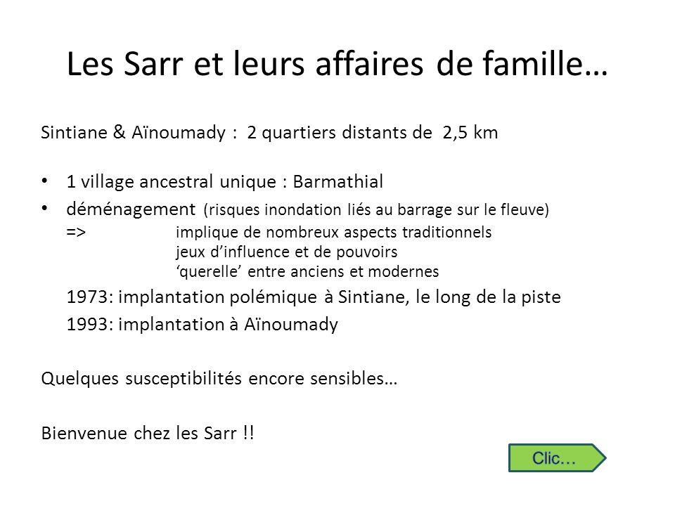 Les Sarr et leurs affaires de famille… Sintiane & Aïnoumady : 2 quartiers distants de 2,5 km 1 village ancestral unique : Barmathial déménagement (ris