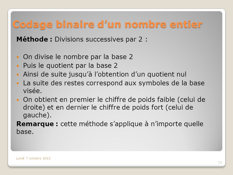Codage binaire dun nombre entier Méthode : Divisions successives par 2 : On divise le nombre par la base 2 Puis le quotient par la base 2 Ainsi de suite jusquà lobtention dun quotient nul La suite des restes correspond aux symboles de la base visée.