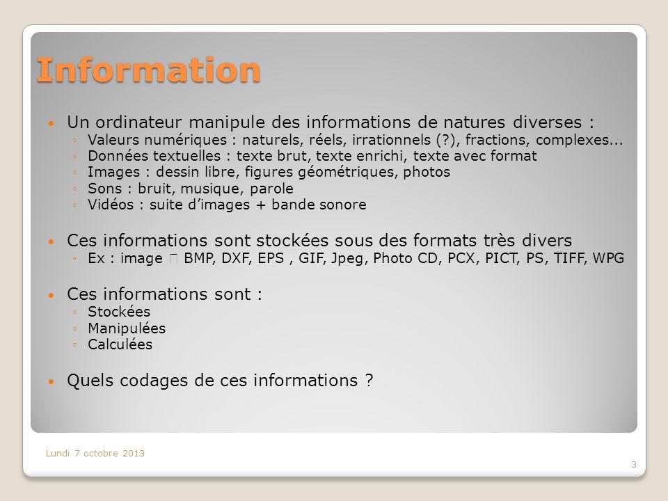 Information Un ordinateur manipule des informations de natures diverses : Valeurs numériques : naturels, réels, irrationnels (?), fractions, complexes...