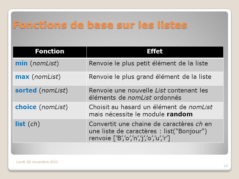 Fonctions de base sur les listes Lundi 25 novembre 2013 10 FonctionEffet min (nomList)Renvoie le plus petit élément de la liste max (nomList)Renvoie l