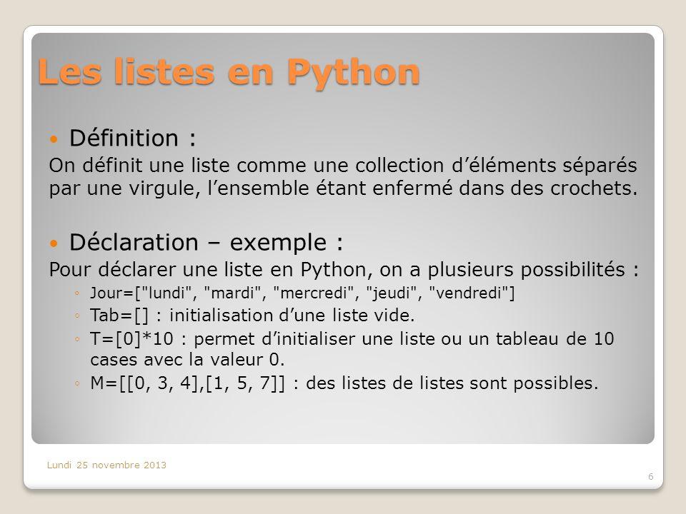 Les listes en Python Définition : On définit une liste comme une collection déléments séparés par une virgule, lensemble étant enfermé dans des croche