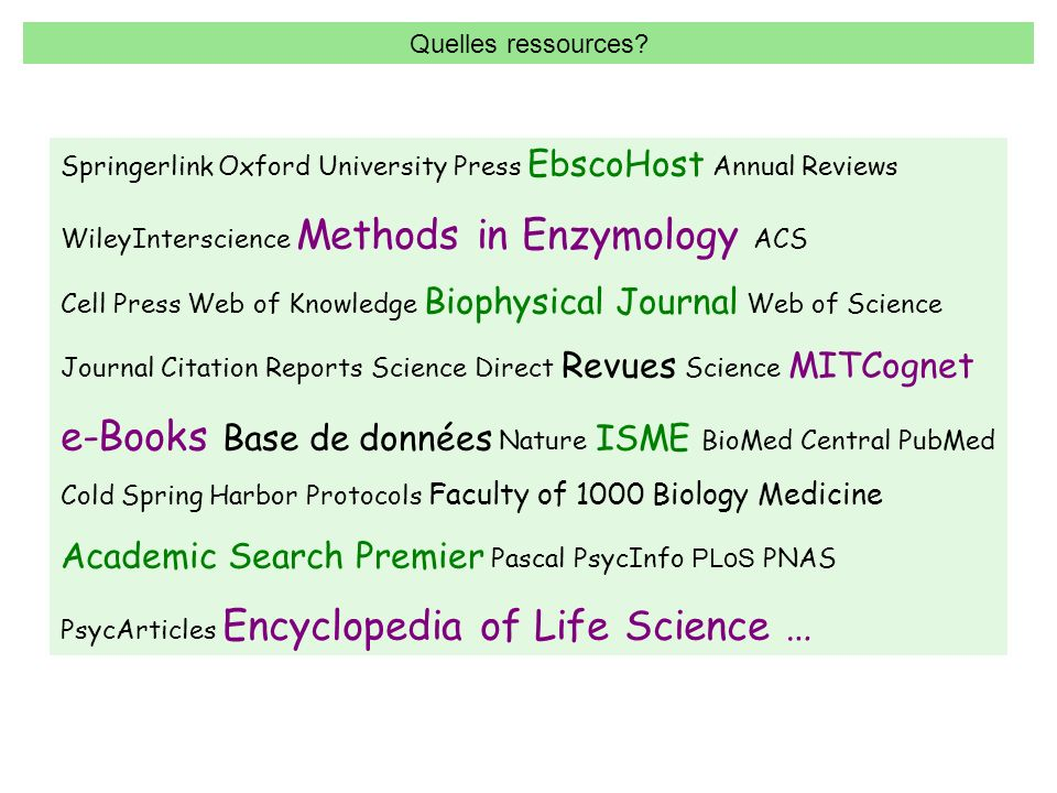 Springerlink Oxford University Press EbscoHost Annual Reviews WileyInterscience Methods in Enzymology ACS Cell Press Web of Knowledge Biophysical Journal Web of Science Journal Citation Reports Science Direct Revues Science MITCognet e-Books Base de données Nature ISME BioMed Central PubMed Cold Spring Harbor Protocols Faculty of 1000 Biology Medicine Academic Search Premier Pascal PsycInfo P LoS PNAS PsycArticles Encyclopedia of Life Science … Quelles ressources?