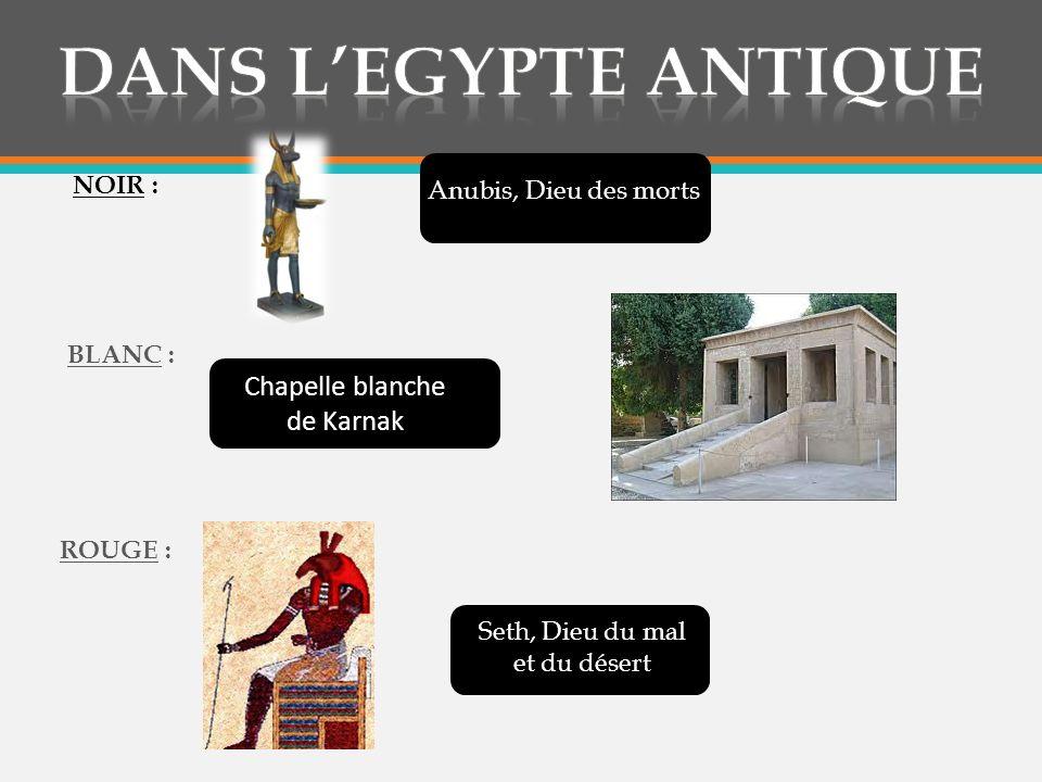 BLEU : VERT : JAUNE : Osiris, Dieu de lagriculture Croix dAnkh, symbole dimmortalité Râ, Dieu du soleil