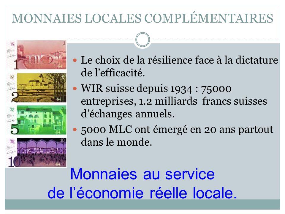 MONNAIES LOCALES COMPLÉMENTAIRES Le choix de la résilience face à la dictature de lefficacité. WIR suisse depuis 1934 : 75000 entreprises, 1.2 milliar
