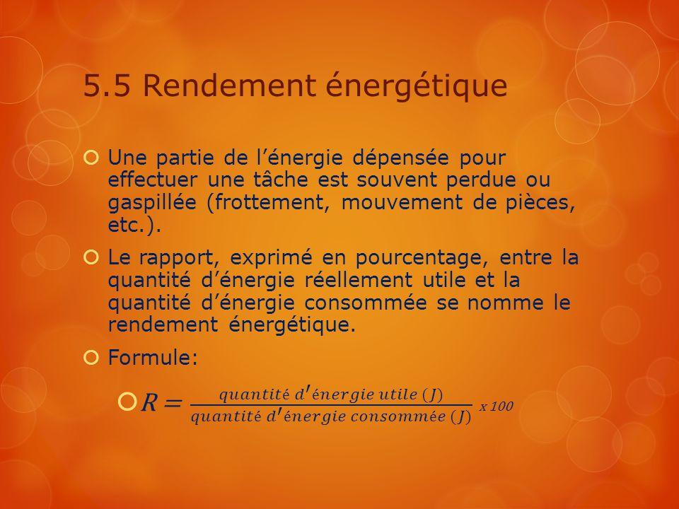 5.5 Rendement énergétique