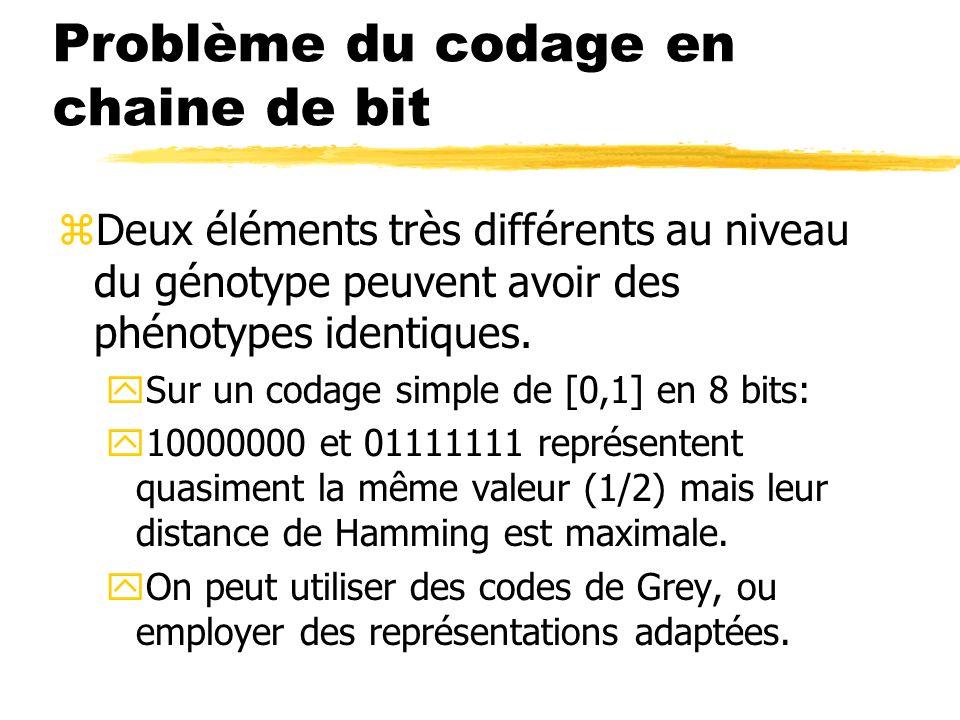 Problème du codage en chaine de bit zDeux éléments très différents au niveau du génotype peuvent avoir des phénotypes identiques.