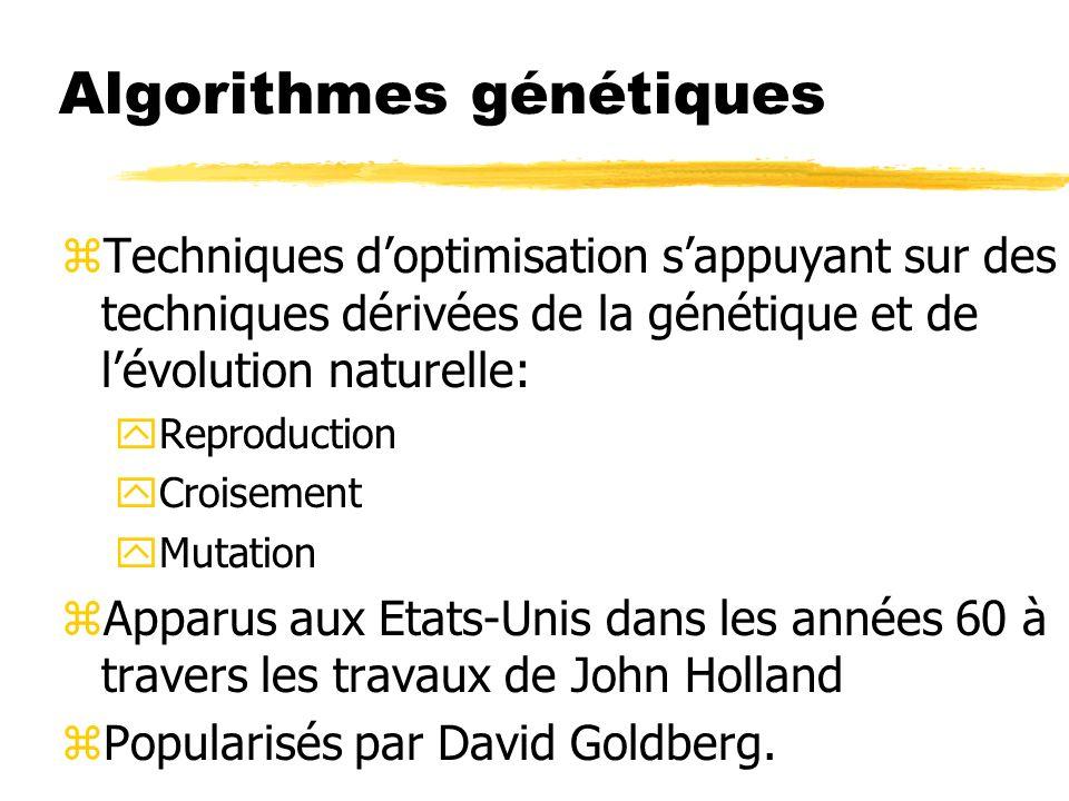 Algorithmes génétiques zTechniques doptimisation sappuyant sur des techniques dérivées de la génétique et de lévolution naturelle: yReproduction yCroisement yMutation zApparus aux Etats-Unis dans les années 60 à travers les travaux de John Holland zPopularisés par David Goldberg.