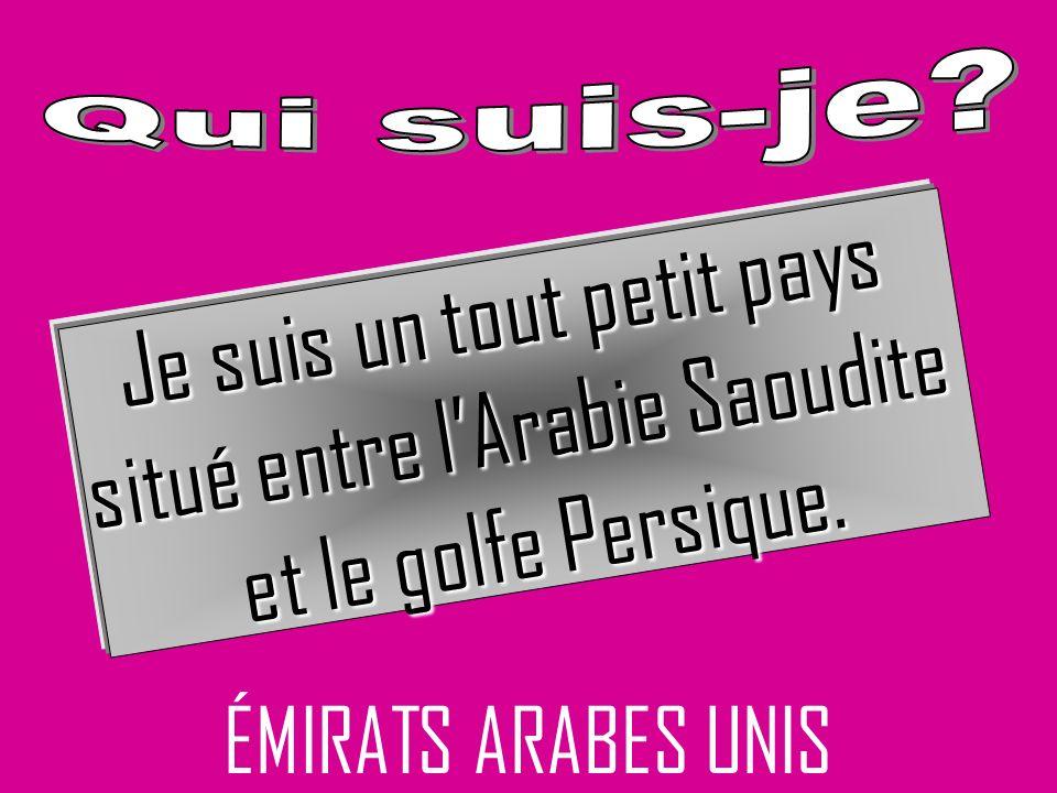 ÉMIRATS ARABES UNIS Je suis un tout petit pays situé entre lArabie Saoudite et le golfe Persique.