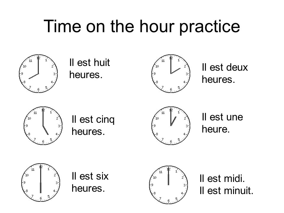 Time on the hour practice Il est huit heures. Il est deux heures. Il est cinq heures. Il est six heures. Il est une heure. Il est midi. Il est minuit.