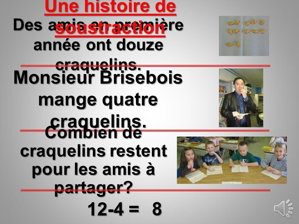 Des amis en première année ont douze craquelins.Monsieur Brisebois mange quatre craquelins.