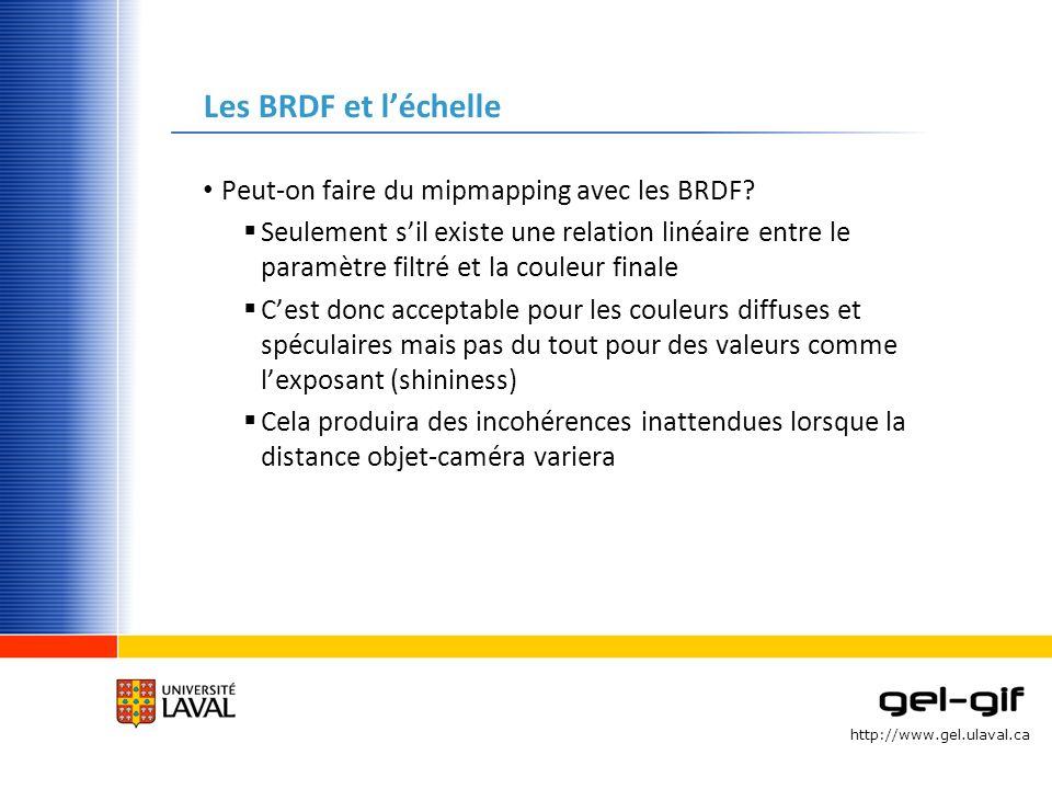 http://www.gel.ulaval.ca Les BRDF et léchelle Peut-on faire du mipmapping avec les BRDF? Seulement sil existe une relation linéaire entre le paramètre